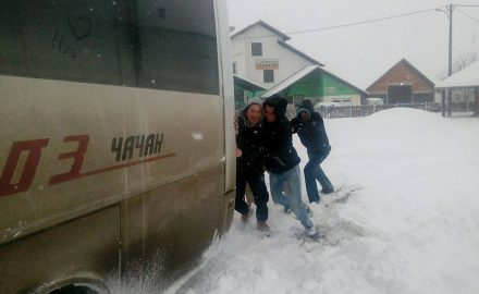 sneg, autobus