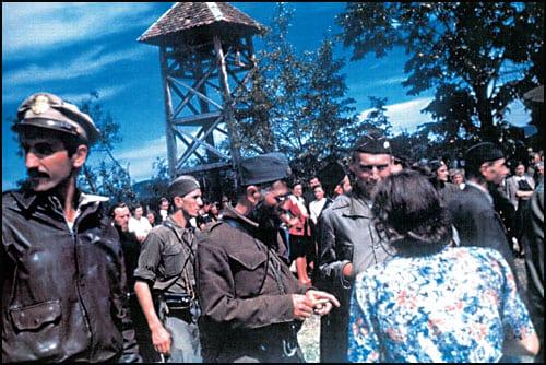 капетан Ник Лалић, поручник Никола Марковић, генерал Драгољуб Михаиловић и пуковник Роберт Макдауел у Прањанима 6. септембра 1944.
