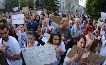 PROTEST PROTIV SMENA NA RTV U NOVOM SADU