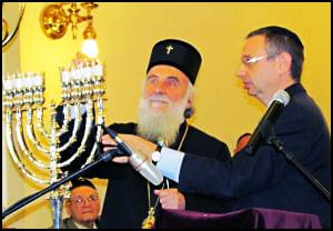 Patrijarh-srpski-gazi-kanone-u-jevrejskoj-Sinagogi