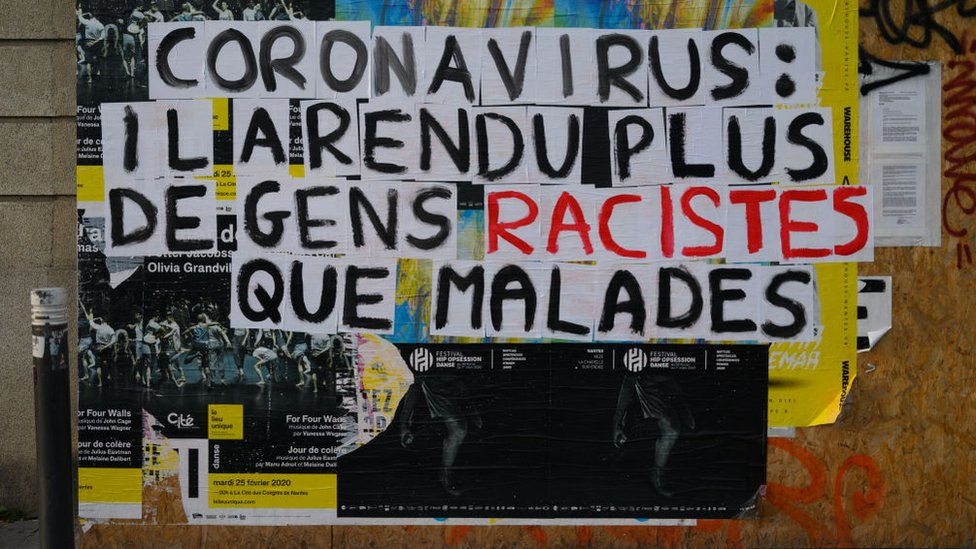 """Poster denouncing """"racist"""" stigmatization suffered by Asian people in France since the start of the Coranovirus epidemic in China"""