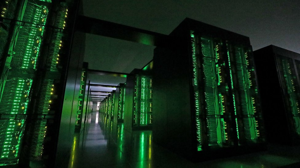 "This picture taken on June 16, 2020 shows Japan""s Fugaku supercomputer at the Riken Center for Computational Science in Kobe,"