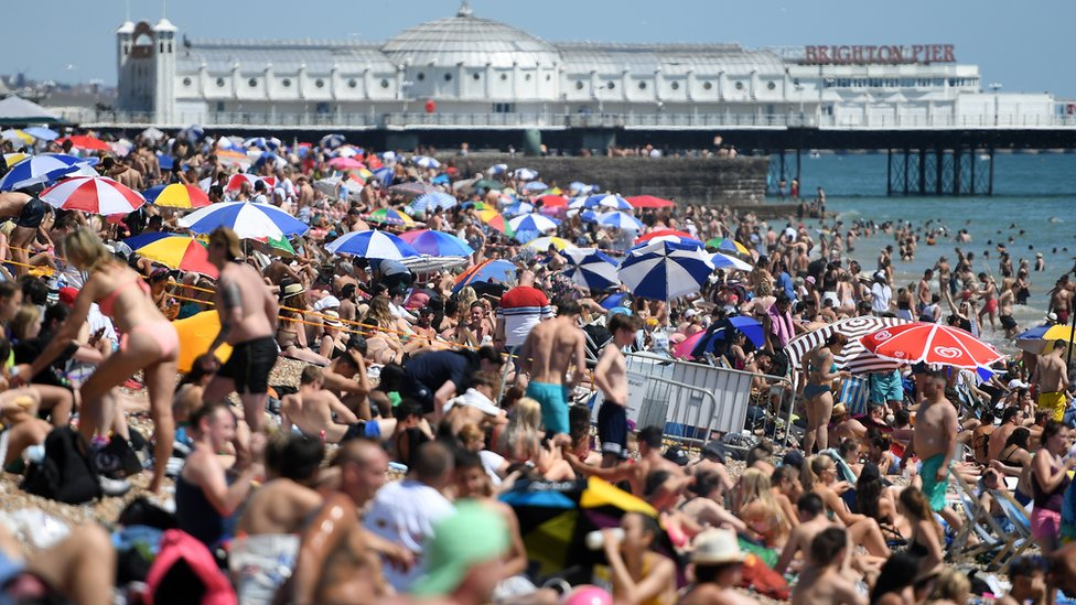 Further along the south coast, Brighton beach was also busy