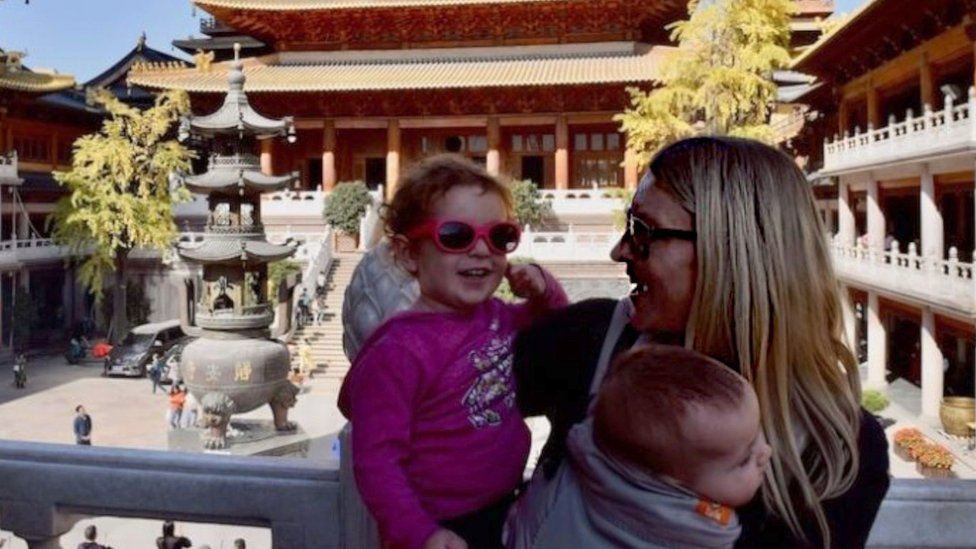Dr Hayley Stainton with her two children in Shanghai