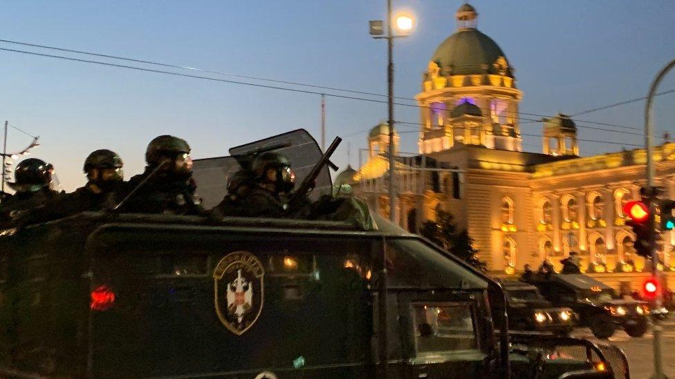 Žandarmerija ispred zgrade Skupštine Srbije
