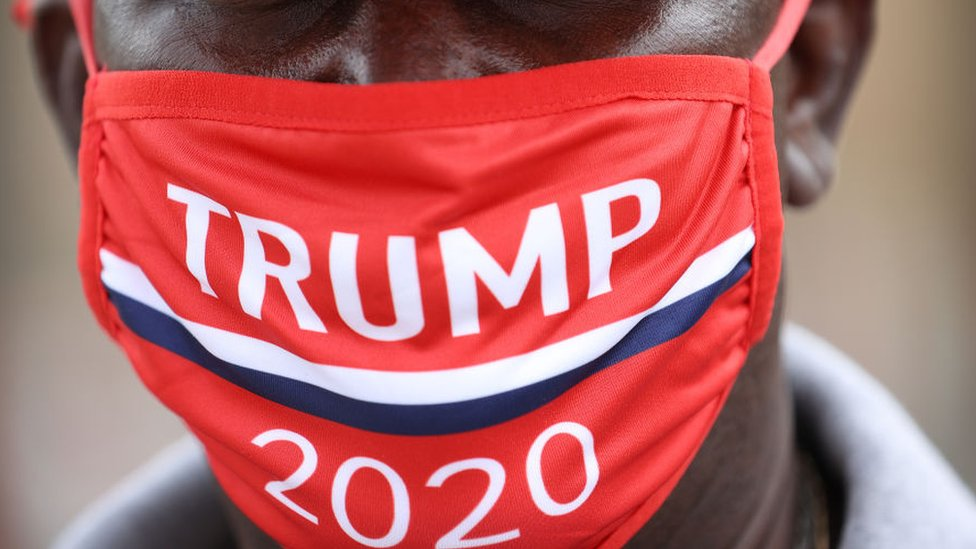 Trump supporter wearing a mask
