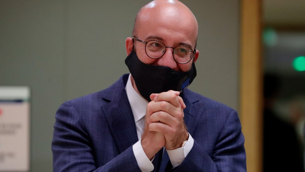 European Council President Charles Michel participates in a final roundtable discussion following a four-day European summit in Brussels, Belgium, 21 July 2020.