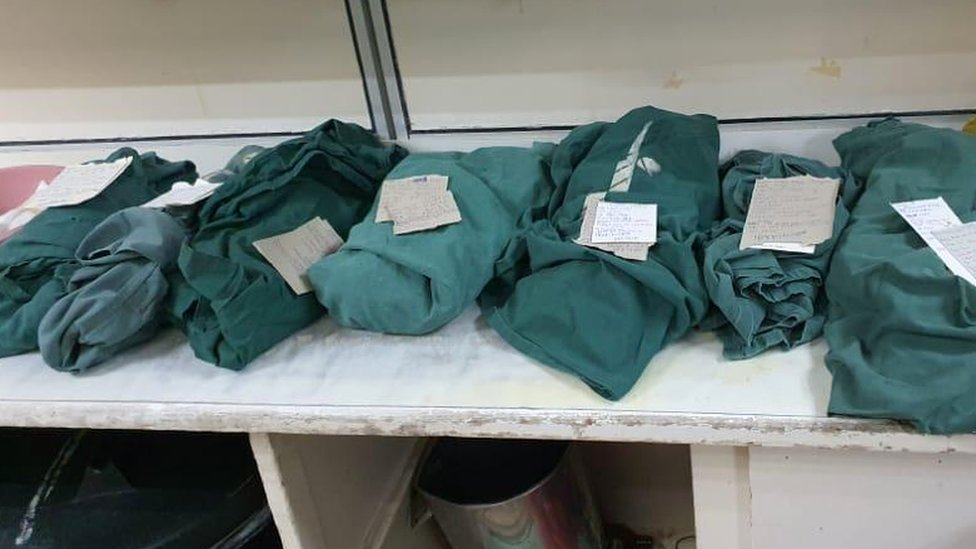 The bodies of the stillborn babies at Harare Hospital on Monday 27 July were wrapped up in green cloth