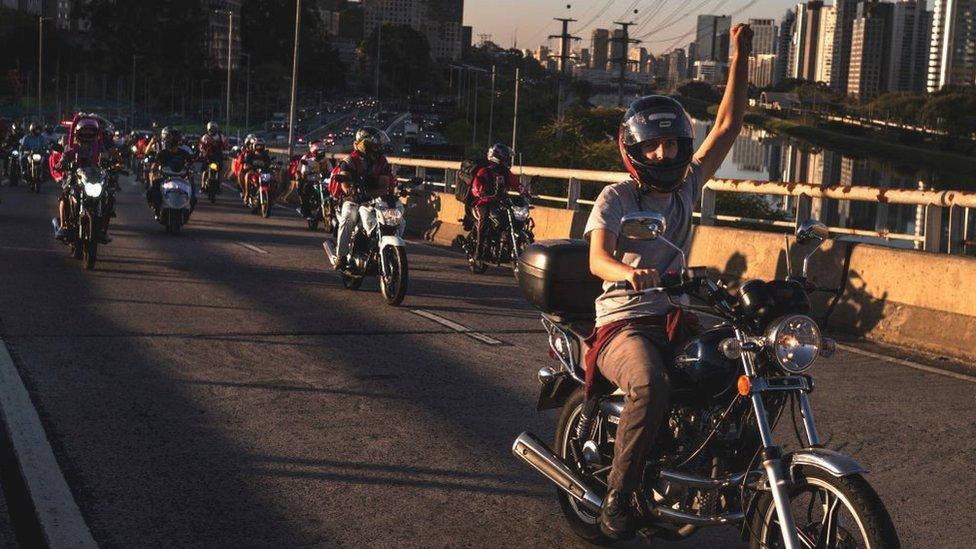 Brazilian couriers go on strike on 25 July in Sao Paulo, Brazil