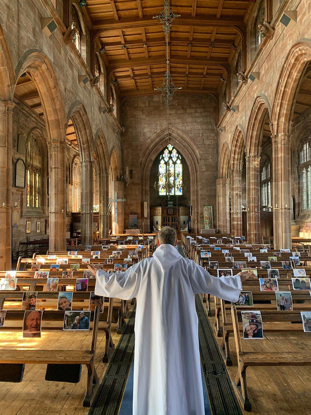 Photos arranged inside a church