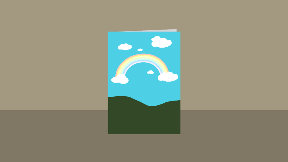 Card with rainbow on the front