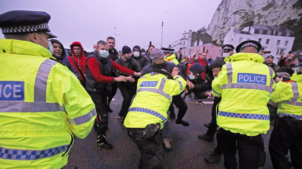 Police held back drivers trying to enter the Port of Dover on Wednesday morning