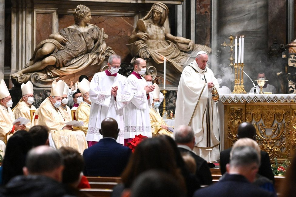 Pope Francis leads a Christmas Eve Mass at St Peter's Basilica in the Vatican. Photo: 24 December 2020