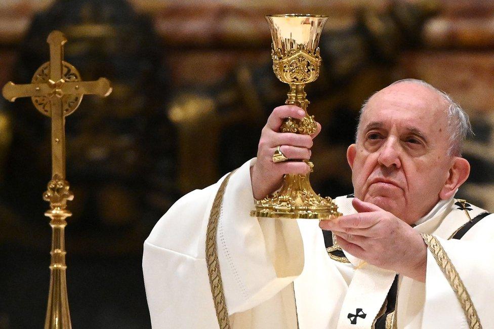 Pope Francis celebrates a Christmas Eve Mass. Photo: 24 December 2020