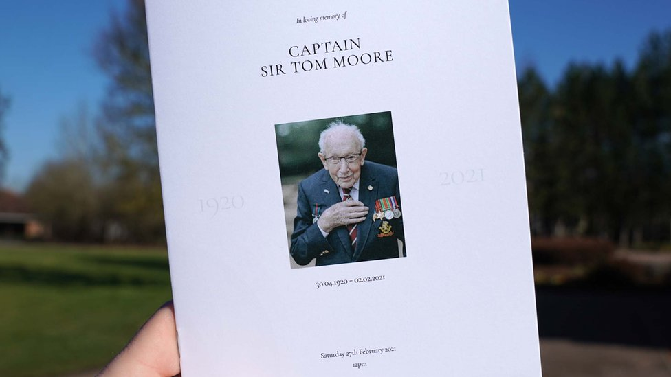 Order of service for Captain Sir Tom Moore's funeral.