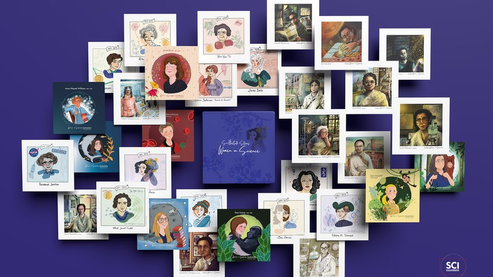 Cards showing various women in science