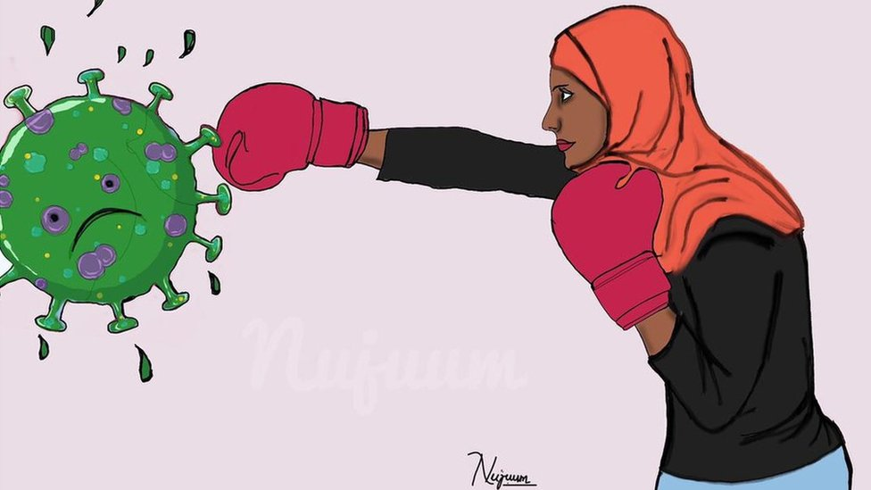 An illustration of a woman in boxing gloves punching coronavirus