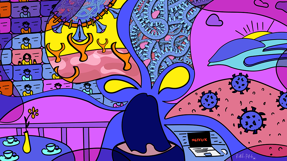 Self portrait drawing by Dr Radhika Patnala showing herself thinking about all of the projects she has been working including her Covid Dreams series. Brightly illustrated image showing the back of a woman's head with drawings of protein, the virus, zoom screens all coming out of her thoughts.