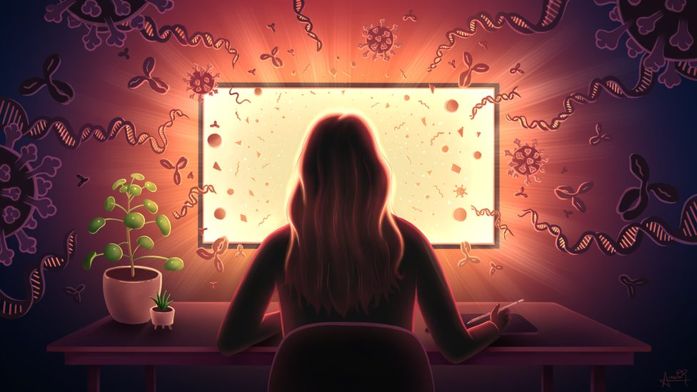 Avesta Rastan sitting, near a plant and at a computer screen with images and icons related to the virus and DNA surrounding her