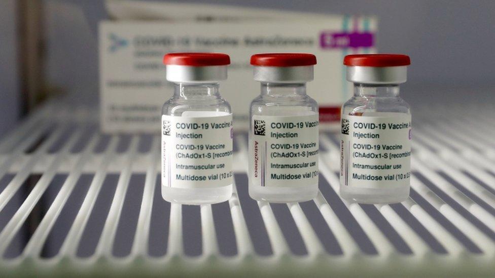 Vials of the Oxford-AstraZeneca vaccine