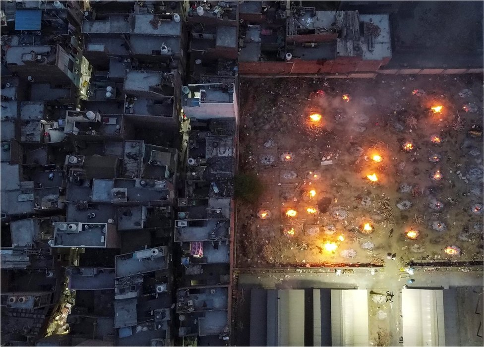 An aerial view of cremations in New Delhi, India