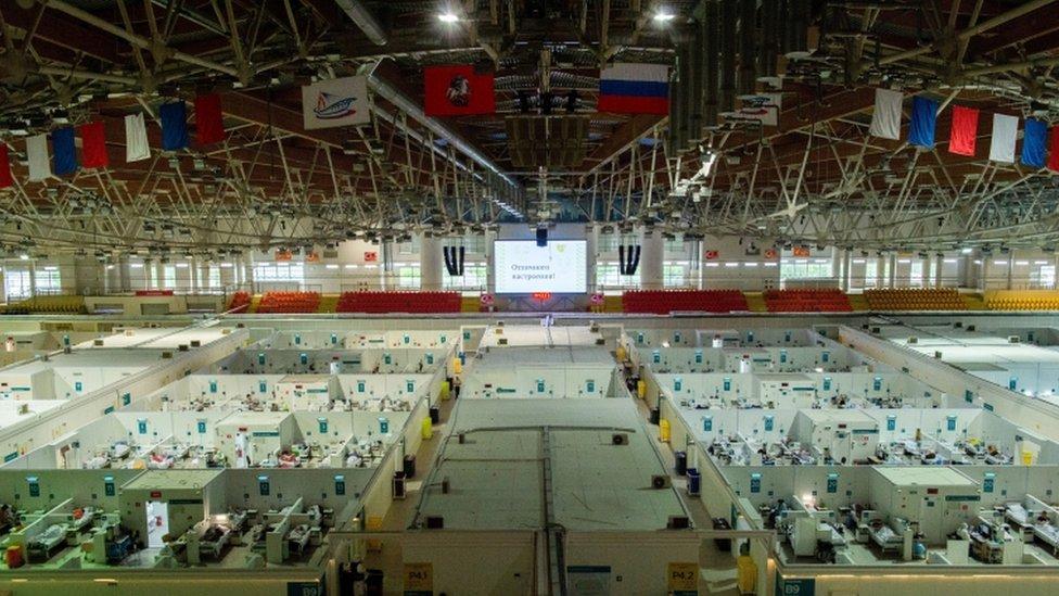 Temporary hospital in the Krylatskoye Ice Palace, Moscow